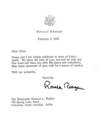 Condolence letter dated February 5, 1990, from President of the United States Ronald Reagan to Richard L. Walker, on the occasion of Ceny Walker's death.