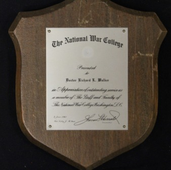 National War College Plaque