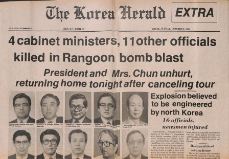 Korea Herald, Sunday October 9, 1983, with coverage of the Rangoon bombing of October 9, 1983.