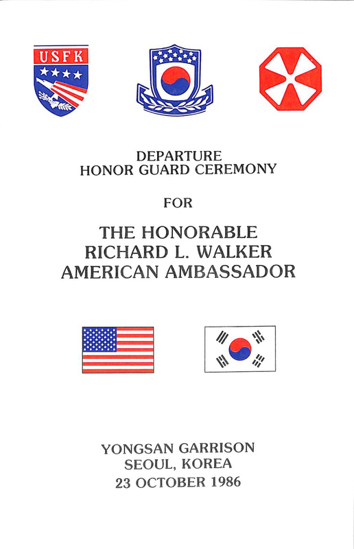 Invitations from the Minister of Foreign Affairs of the Republic of Korea, the Ambassadors to the Republic of Turkey, Brazil, the Republic of China, and the Minister of National Defense for the Republic of Korea, October 1986.