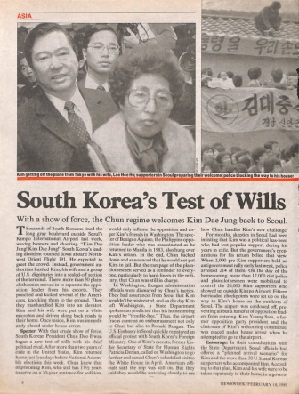Newsweek article from February 18, 1985, concerning the return of Kim Dae Jung to the Republic of Korea.