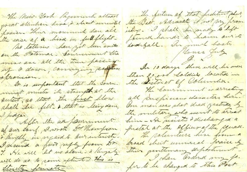 Diary entry of Reverend John Lanahan, April 29, 1861