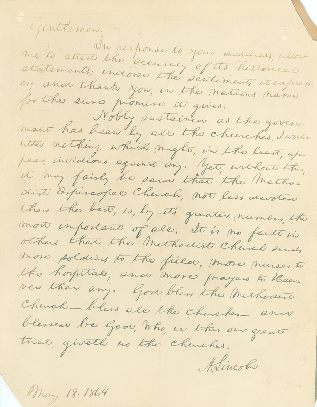 Facsimile Letter from Abraham Lincoln to the Bishops of the Methodist Episcopal Church, May 18, 1864