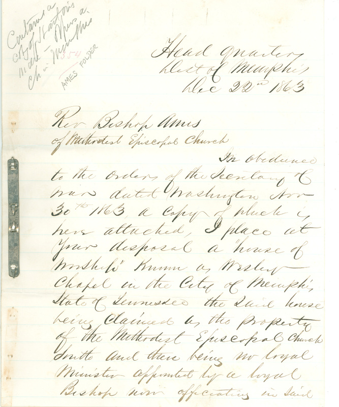 Letter from General Edward D. Townsend to Edward R. Ames, Army Headquarters, District of Memphis, Tennessee, December 22, 1863