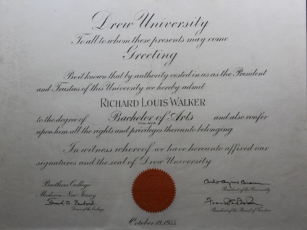 Diploma from Drew University
