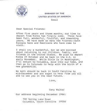 Letter from Ceny Walker to friends in Korea regarding the Walker's change of address. (1986)