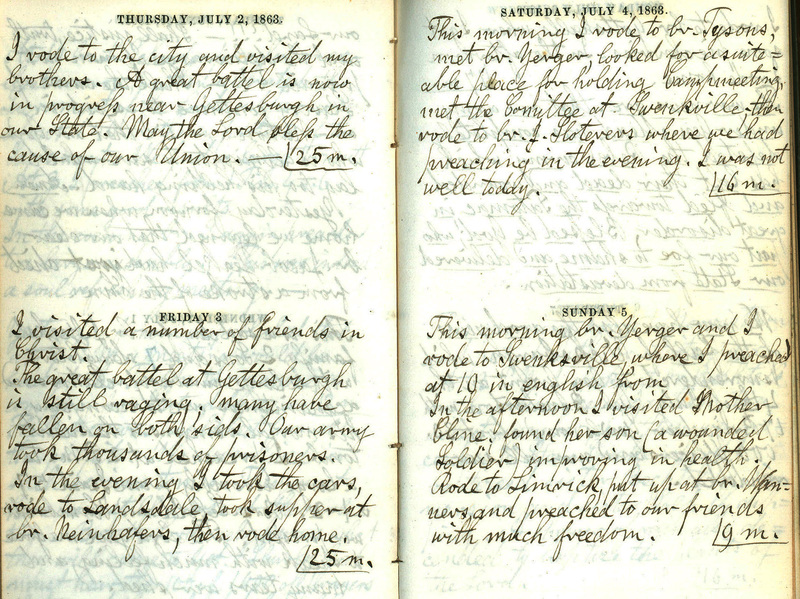 Diary entries of Reverend Frederick Krecker, July 3, 1863 and May 18, 1864