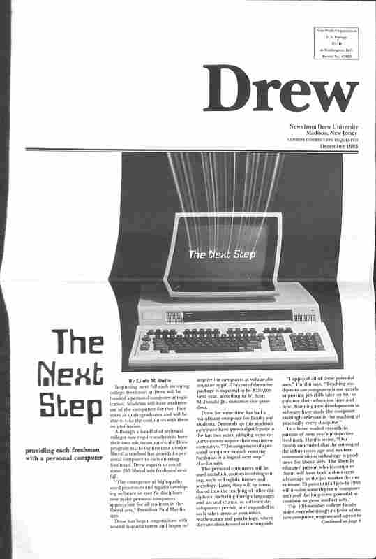 Drew newsletter, December 1983 [Lead story: Computer Initiative]