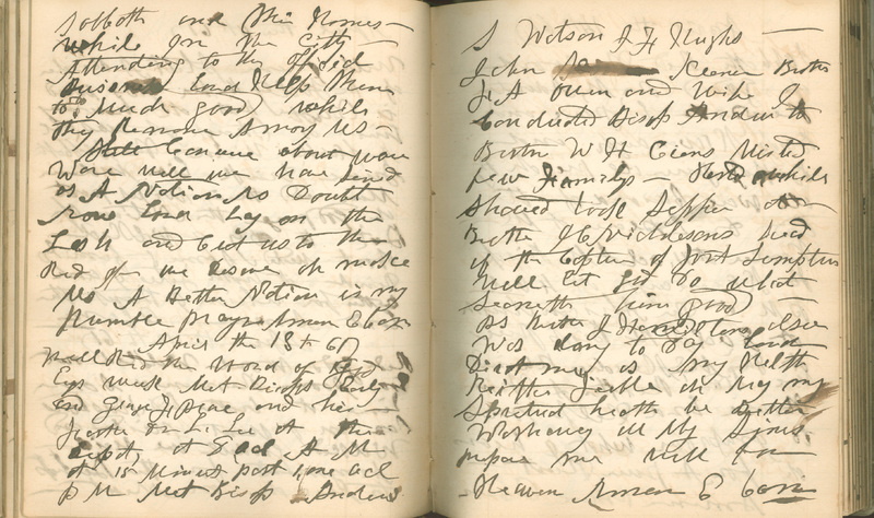 Diary entry of Reverend Thomas Armstrong Cass, April 13, 1861