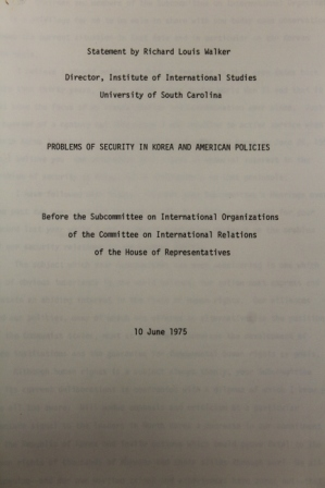 Problems of Security in Korea and American Politics, Before the Subcommittee on International Organizations of the Committee on International Relations of the House of Representations