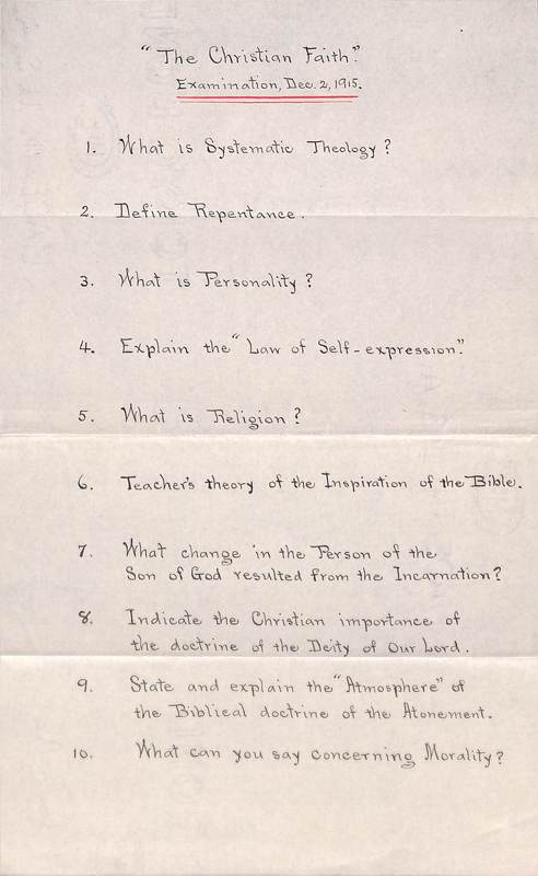 "Olin Curtis Exam ""The Christian Faith"" 2 December, 1915"