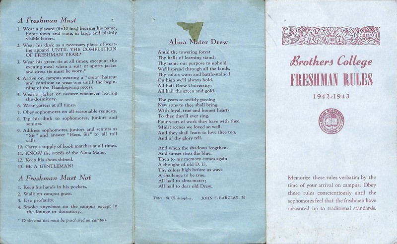 Brothers College Freshman Rules 1942-1943