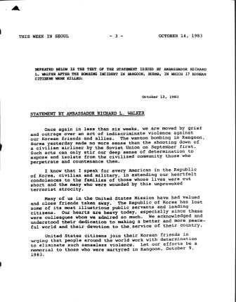 Facsimile of statement about the Rangoon bombing from Ambassador Richard L. Walker, October 13, 1983.