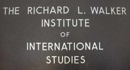 "Metal sign, ""The Richard L. Walker Institute for International Studies."" In 1994, the University of South Carolina named the institute after Ambassador Walker in honor of his service to the University."