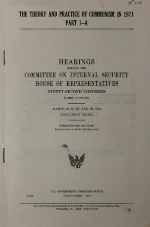 Hearings before the Committee on Internal Security, House of Representatives