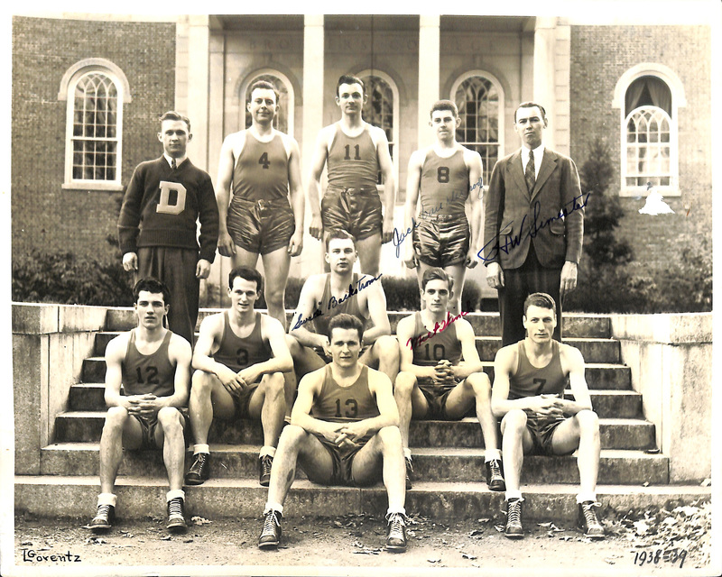 Photograph of 1938-1939 College basketball team with several Hall of Fame signatures