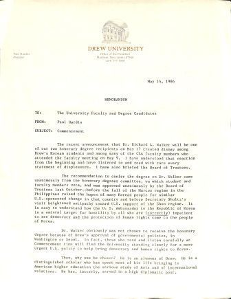 Memo from President of Drew University Dr. Paul Hardin citing the reasons for choosing Walker as an honorary degree recipient, May 14, 1986.