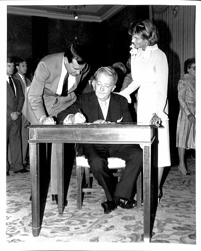 Photograph of Richard L. Walker signing his oath of office as United States Ambassador to Korea, July 24, 1981