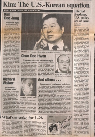Article from USA Today, February 12, 1985, listing Ambassador Richard L. Walker as one of the key players in the drama surrounding the return of Kim Dae Jung to Korea.