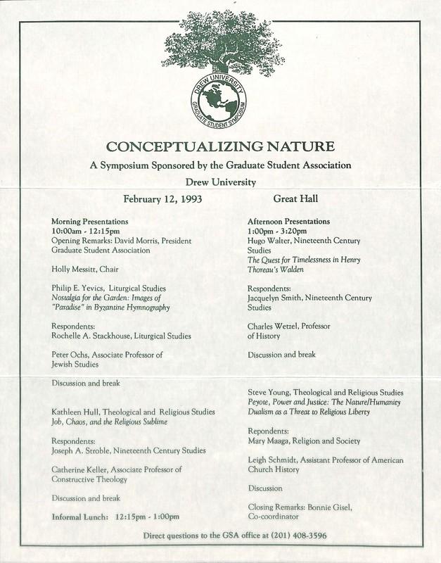 """Program for 1992 Graduate School Symposium """"Conceptualizing Nature"""""""
