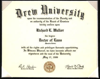 Honorary Doctor of Laws degree conferred on Ambassador Richard L. Walker by his alma mater, Drew University, May 17, 1986.
