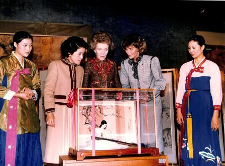 "Photograph of Celeno K. ""Ceny"" Walker and Nancy Reagan, Seoul, Republic of Korea, November 1983."