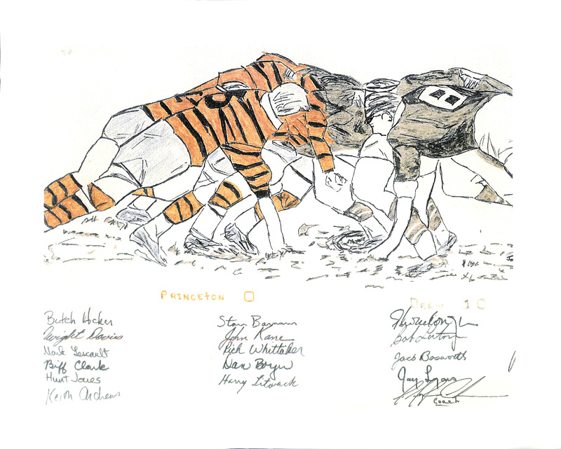 Reproduction of Pencil Drawing commemorating Drew Rugby defeat of Princeton, 1969