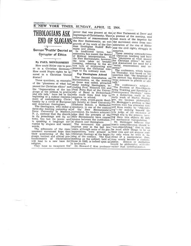April 12, 1964 New York Times article on the Hermeneutics Consultation