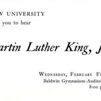 Invitation to Hear Martin Luther King, Jr. Speak at Drew University