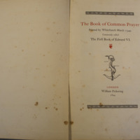 Book of Common Prayer printed by Whitchurche March 1549 commonly called first prayer book of Edward VI (1549, 1844 reprint)