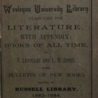 Russell Library and Wesleyan University Library Class List for Literature