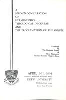Programs for 1964 Hermeneutics Consultation