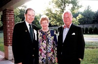 Photograph of Barbara and Finn Caspersens with Dean James Pain and Thomas H. Kean