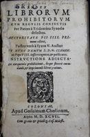 Index librorum prohibitorum. [Index of Prohibited Books].