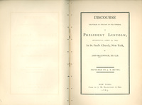 Discourse delivered on the Day of the Funeral of President Lincoln, Wednesday, April 19, 1865, in St. Paul's Church, New York.